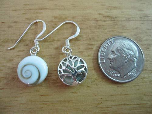 Shiva Eye Shell,Tree of Life 925 Sterling Silver Drop Earrings, Round Shape Size 10 mm,ESTL