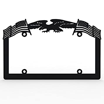 Amazon.com: Black Powdercoat Car Truck License Plate Frame Eagle ...