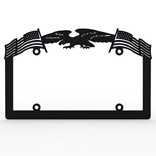 (Ferreus Industries Black Powdercoat Car Truck License Plate Frame Eagle American Flag Eagle - 1 Piece)