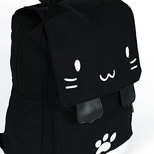 Black College Cute Cat Embroidery Canvas School Laptop Backpack Bags For Women Kids Plus Size Japanese Cartoon Kitty Paw Schoolbag Ruchsack Girls Boys Outdoor Accessories Daypack Bookbag (01White) by DemonChest (Image #4)