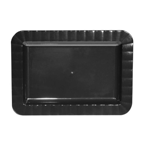 Party Essentials Deluxe Quality Hard Plastic 5 x 7-Inch Rectangular Appetizer Plates, Black, 24 (Black Rectangular Bowl)