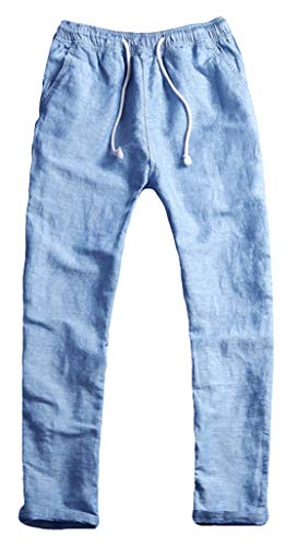 Youhan Men's Fitted Elastic Waistband Cotton Linen Pants with Drawstring (Large, Blue) (Linen Scrubs)