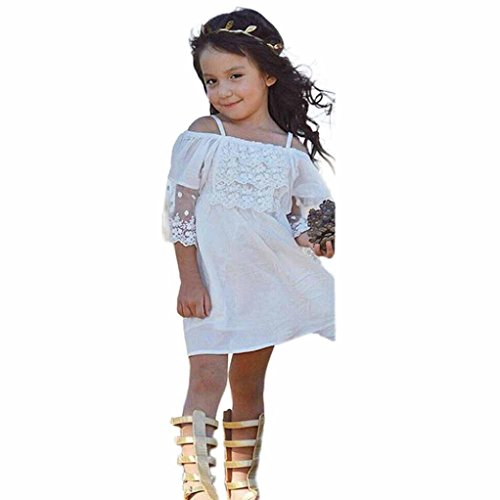 Price comparison product image Gotd Girls Princess Dress Flower Kids Baby Party Wedding Pageant Lace Dresses Clothes (5 Tall,  White)