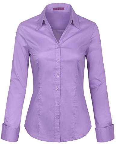 KOGMO Womens Basic Long Sleeve Button Down Shirts Office Work Blouse, 736_lilac, 1X