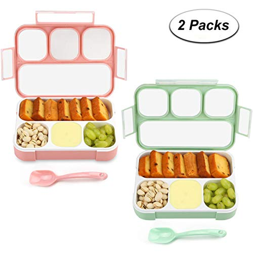 Bento Box 4 Compartments Lunch Box from eMigoo, Green and Pink, 2 Pieces
