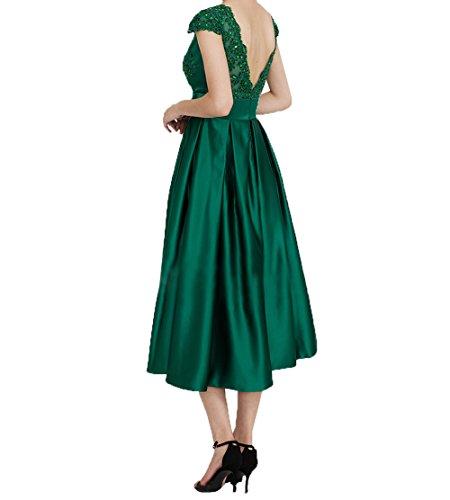 Fuchsia Abendkleider Satin Festlichkleider Charmant Brautmutterkleider Kurzarm mit Kleider Kurzes Damen Jugendweihe Wadenlang aPxO6q
