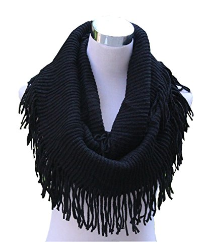- Lucky Leaf Women Fashion Thick Knitting Woolen Infinity Scarf Circle Loop Scarves with Long Fringe (Black 1)