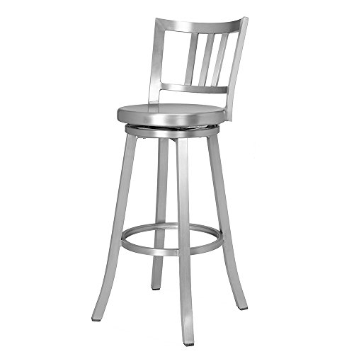 Renovoo Aluminum Swivel Bar Stool, Commercial Quality, Brushed Aluminum Finish, 30 Inch Seat Height, Indoor Outdoor Use, 1 Pack