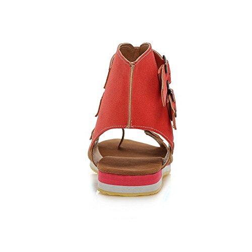 AgooLar Mujeres Hebilla Puntera Abierta Mini tacón Sintético Colores Surtidos Sandalia Rojo