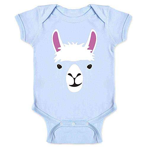 Llama Big Animal Face Cute Funny Light Blue 6M Infant Bodysuit]()