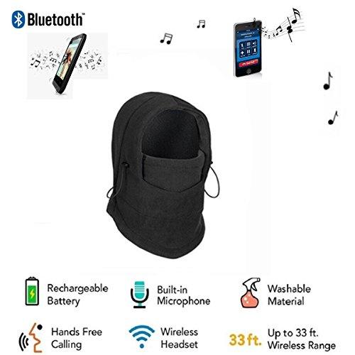 Veligoo Outdoor Ski Full Face Mask Windproof Mask with Bluetooth Neck Warmer Mask Hat Wireless Hi-Fi Stereo Headphone (black)