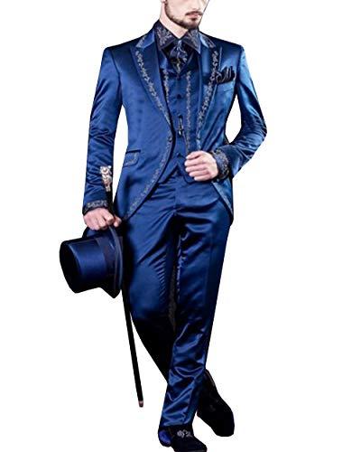 LoveeTux Mens Suit 3 Pieces Casual Notch Lapel Tailcoat Tuxedos Long Blazer for Wedding Party(Blazer+Vest+Pants)(42,Blue)