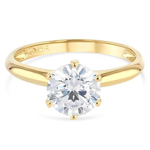 (Ioka - 14K Solid Yellow Gold Round Cut Solitaire CZ Engagement Ring - Size 7)