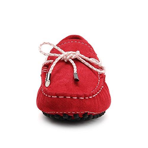 Vino Donna Di Casual Loafers Fiocchetto Mocassini Scarpe Con Pelle Shenduo Rosso Nubuk D7051 xnT7g