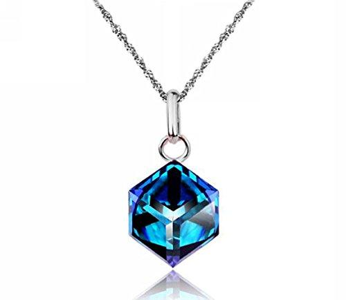18K White Gold GP 7mm Cube Austrian Crystal Necklace Wedding Pendant N390 (blue)