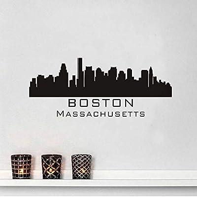 Boston Skyline Tatuajes de Pared Diy Extraíble Arte Etiqueta de La ...