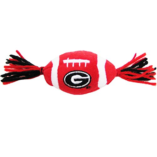 Pets First NCAA Georgia Bulldogs Catnip Toy in Football Shape with Team Logo in Vibrant Team Color