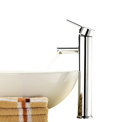 (Above Counter Bathroom Sink Faucet Combo Single Handle Solid Brass Basin Mixer Taps,Chrome Finish)