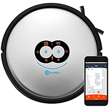 RolliBot LE-601 Top Ranked 3D Laser Mapping LASEREYE Robot Vacuum: 100% Clean Floors, Cliff and Object Detection, 2D Map with App, Black