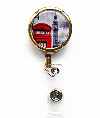 RhyNSky London Big Ben Gold Retractable Business Card ID Name Badge Holder Reel -79 ()