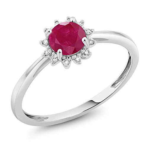 Gem Stone King 10K White Gold Red Ruby and Diamond Women's Engagement Ring 0.55 Cttw Available in (Available 5,6,7,8,9) (Size 7)