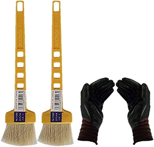 黄柄エナメルハケL 2本セット(作業手袋付き)通常便