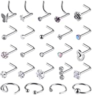 KUUQA 24 Pcs Nose Rings Set Czech Diamond Nose Stud Butterfly Star Rose Nose Screw Nose Hoop Ring Earrings Lip