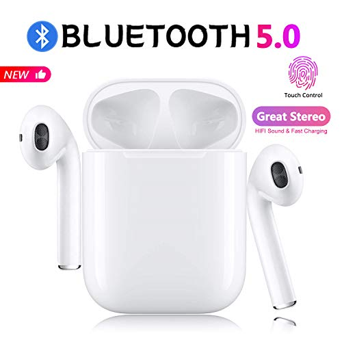 Bluetooth 5.0 Earbuds Wireless Headphones Hi-Fi Sound Bluetooth Headset with Fast Charging Case 24Hrs Extended Playtime Pop-Up Pairing for iPhone Apple Airpods Samsung Sports Earphone