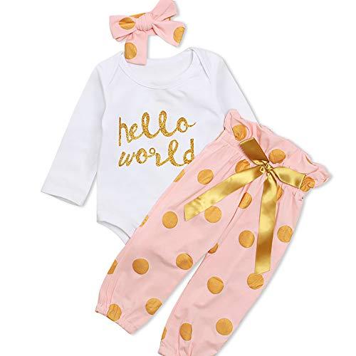 - Yilaku Eyelash Cute Newborn Baby Girl Clothes Top + Pants + Headband 3pcs Toddler Clothing Sets (Pink, 6-12 Months)