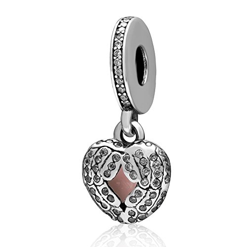SoulBeads Christmas Gifts Idea Enamel Angel Wings Charms Solid - Authentic 925 Sterling Silver Dangle Heart Bead with Stone for Pandora Charms Bracelet