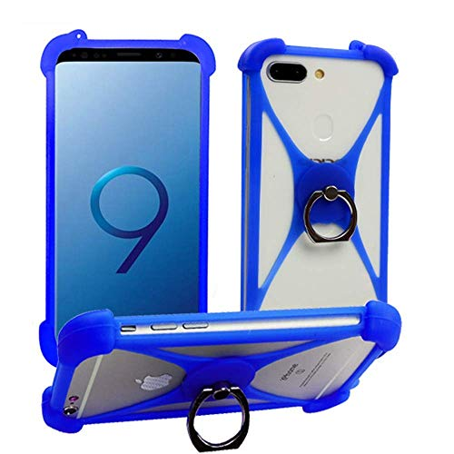 ABCTen Case for Sony Xperia L2 L1 L J E5 E4 E3 E2 R1 E Silicone Bumper Case 360° Rotate Ring Grip Case Shockproof Protective Back Cover for Sony Xperia C6 C5 C4 C3 C Acro S Ion GO(Blue with Ring) (S Xperia Cover Acro)
