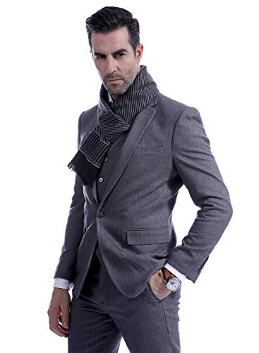 Men Business Striped Warm Scarves Long Classic Pattern Cashmere-like Scarf Stylish Casual Men Neckerchief Black by Panegy (Image #4)