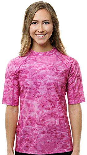 Aqua Design Rashguard Swim Shirts for Women Short Sleeve UV Rash Guard Shirt: Pink Water: Size 3XL ()