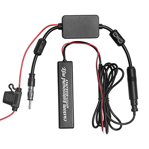 Signal Amplifier Booster Strengthen with Car Radio FM Hidden Amplified Antenna for FM Car Radio, Truck RV, Harley Motorcycle, Boat,Golf Cart Car Stereo Antenna to Signal Booster DIN Plug Adapter Co