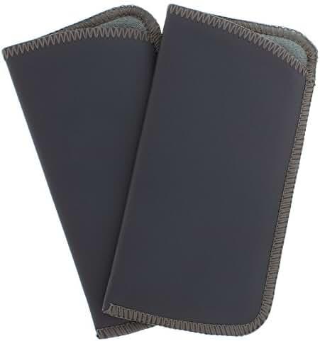 2 Pack Faux Leather Eyeglass Slip Cases In Navy Gray Black Burgundy Hunter Green