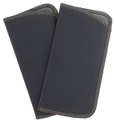 Grey Soft Leather (2 Pack Soft Faux Leather Slip In Eyeglass Case, Fits Medium to Large Frames, Gray)