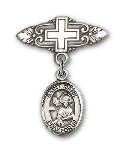 Icecarats Créatrice De Bijoux En Argent Sterling St. Marquer La Broche Évangéliste Badge Charme Avec Une Croix X 3/4