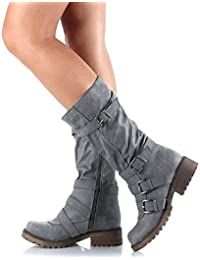 Women's Mid-Calf Boots Suede Buckles Ruched Riding Boots