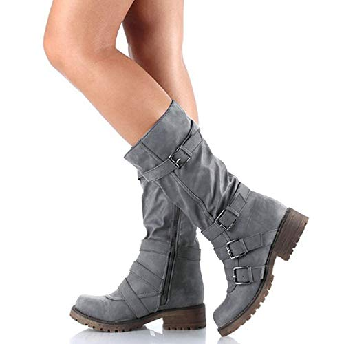 Rainlin Women's Mid-Calf Boots Suede Buckles Ruched Riding Boots - stylishcombatboots.com