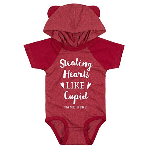 Stealing Hearts Like Cupid Custom Baby Bodysuit: Infant Hooded Raglan Bodysuit with Ears]()