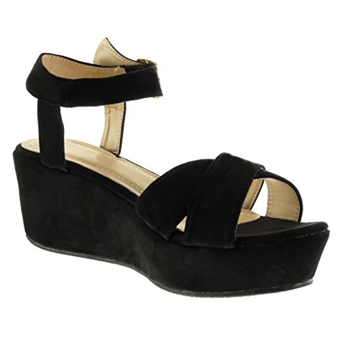 Angkorly - Zapatillas de Moda Sandalias Correa de tobillo zapatillas de plataforma mujer Hebilla Talón Plataforma 7 CM - Negro