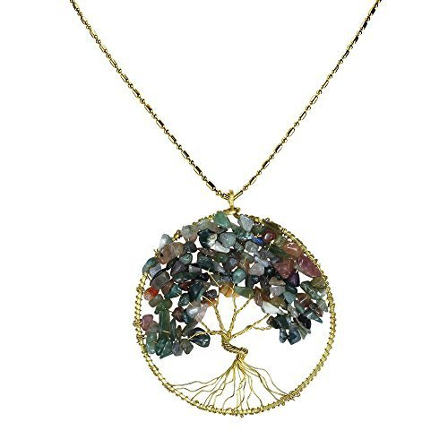 [DEW Drops Seven Color Aventurine Pendant Tree of Life Brass Long Necklace Gemstone Jewelry] (Polynesian Girl Costume)