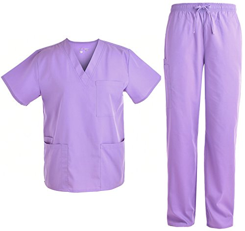 Unisex V Neck Scrubs Set Medical Uniform - Women and Man Nursing Scrubs Set Top and Pants Workwear JY1601 (Lavender, XL)