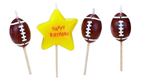 Biedermann & Sons Set of 4 Sports Theme Birthday Candles, 12 Packages, Football -