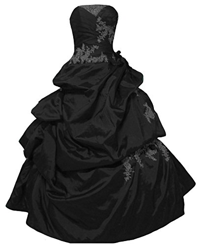 Strapless Silver Lace Beaded Long Pick Up A Line Prom Quinceanera Dress Black US 12
