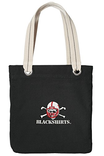 University of Nebraska Blackshirts Tote Bag Rich Cotton Canvas Nebraska Blackshirts Bags Black