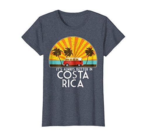 Womens Costa Rica Souvenir T-Shirt - Costa Rica Gift T-Shirt Medium Heather Blue