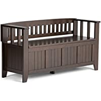 Simpli Home Acadian Solid Wood Entryway Bench, Rich Tobacco Brown