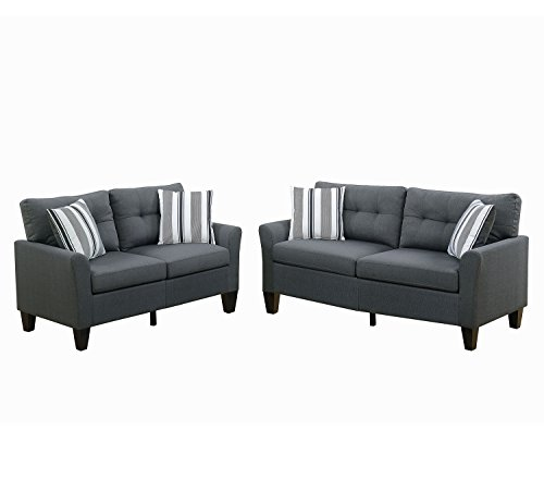 Poundex F6533 Bobkona Dreka Sofa and Loveseat, CHARCOAL (Poundex Set Loveseat)