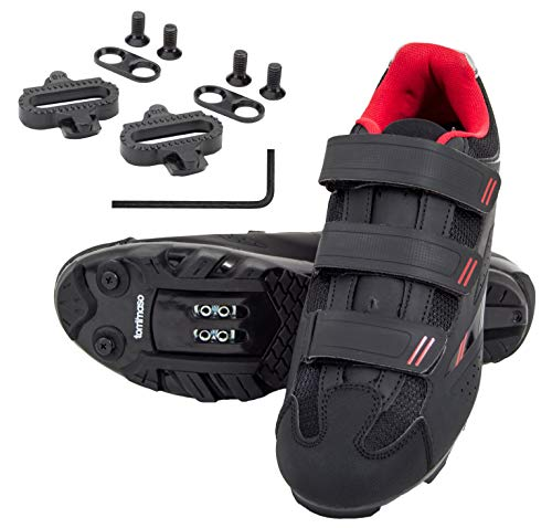 (tommaso Terra 100 Women's Indoor Cycling Ready, MTB, Road Shoe with Compatible SPD Cleat - Black/Red - 42)